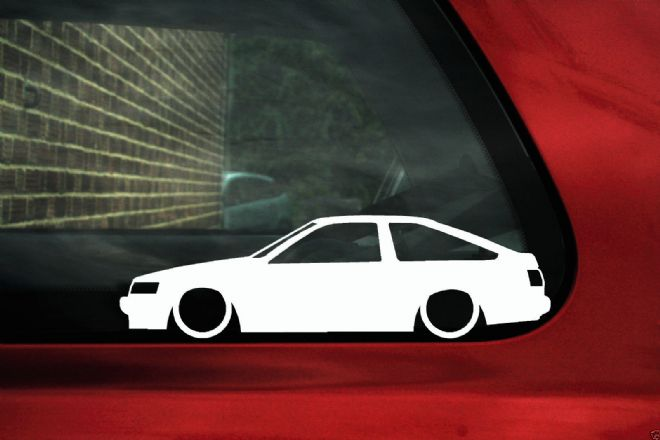 2x Low car outline stickers - Toyota Corolla Levin GT Apex AE86